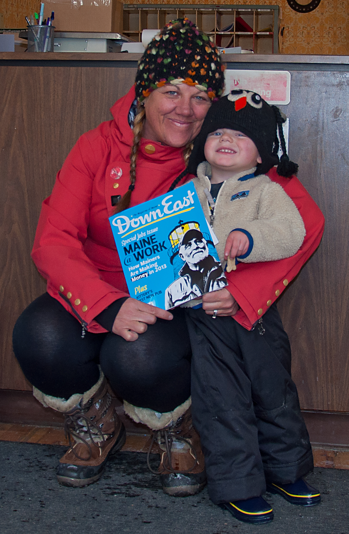 Silver Plume Boxholder after receiving DownEast Magazine in the mail with her father on the cover.